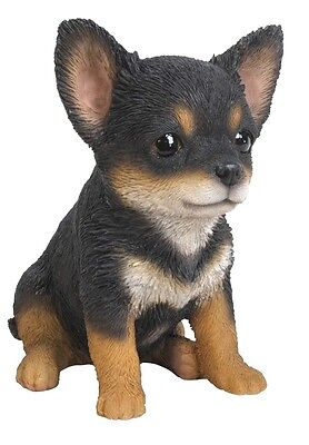 Sitting Black CHIHUAHUA Puppy Dog Life Like Figurine Statue Home Garden NEW