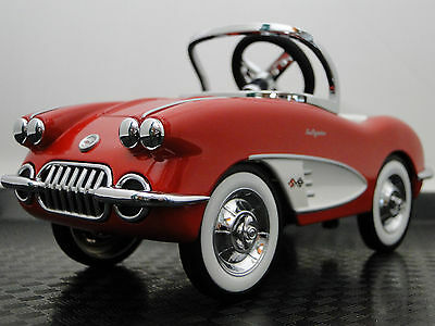 Pedal Car 1959 Corvette Chevy Vintage Sport Hot Rod  Midget Metal Model Red