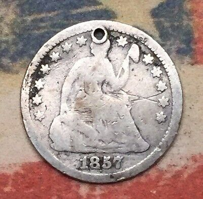 1857-O Seated Liberty Half Dime 90% Silver Vintage US Coin #HX11 Better Date