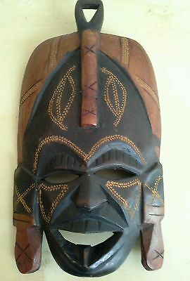 African handmade wood carved mask wall decor