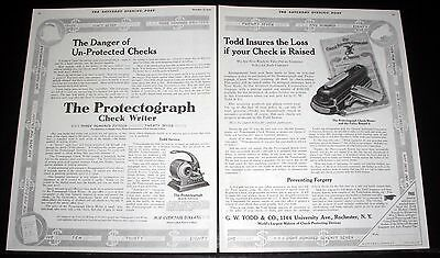 1914 Old Magazine Print Ad, Todd Protectograph Check Writer, Insures The Loss!
