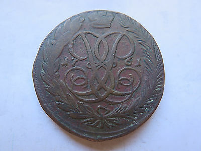 1761 RUSSIA COPPER 5 KOPEKS in NICE COLLECTABLE CONDITION