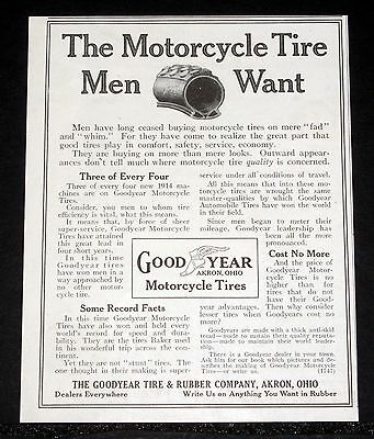 1914 Old Magazine Print Ad, Goodyear, The Motorcycle Tire Men Want, Fad & Whim!