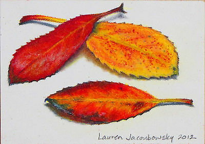 """ACEO Original Colored Pencil Drawing by L.Jacoubowsky - """"Summer Leaves I"""""""