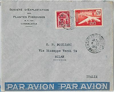 59300 -    MOROCCO - POSTAL HISTORY: COVER to ITALY - 1953