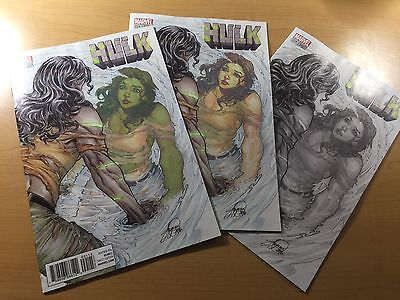MARVEL Comics HULK #1 SIYA OUM VARIANT Set of 3 Color B&W & 500 Run Ships FREE!