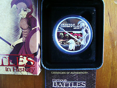 """2009 $1 Silver Proof Coin: Famous Battles - """"Thermopylae."""""""