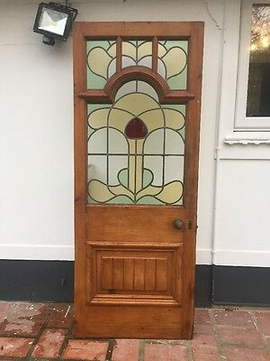 Stained Glass Victorian Edw Front Door Period Old Reclaimed Antique Leaded Wood