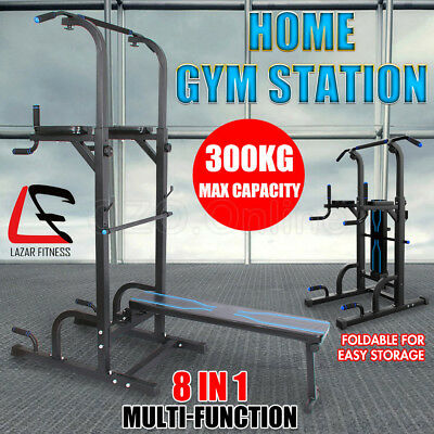 8 IN1 Power Tower Chin Up Station Dip Pull Up Knee Raise Weight Bench Home Gym