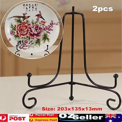 2x Iron Easel Bowl Plate Art Photo Picture Frame Holder Black Book Display Stand