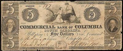 1853 $5 Dollar Bill Columbia South Carolina Note Currency Old Paper Money