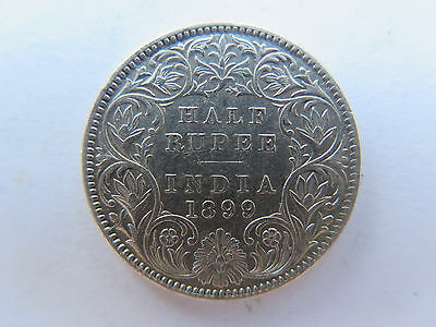 1899 INDIA SILVER 1/2 RUPEE in EXCELLENT CONDITION QUEEN VICTORIA