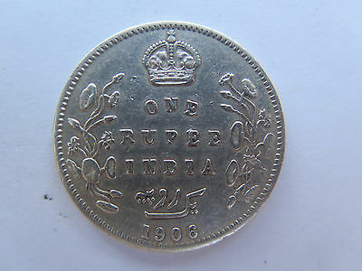 1906 INDIA SILVER 1 RUPEE in EXCELLENT CONDITION KING EDWARD VII