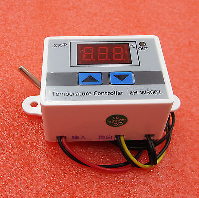 220V Digital LED Temperature Controller Thermostat Control 10A w/ Switch Probe