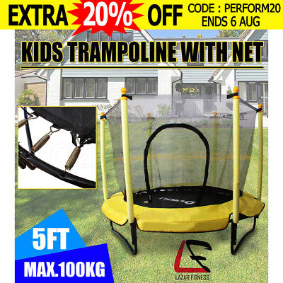 "5FT Kids Round Trampoline With Safety Net Enclosure Spring Pad Cover 60"" Outdoor"