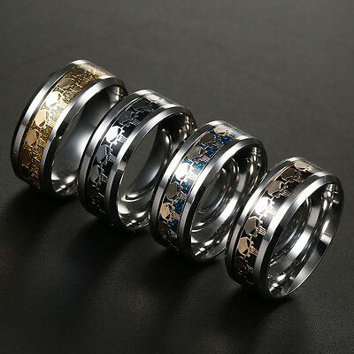 Men Women The Punisher Skull Stainless Steel Titanium Wedding Band Ring Size6-13