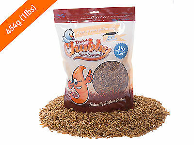 454g Chubby Dried Mealworms for Birds Reptiles Poultry Sugar Gliders Fish 1lb