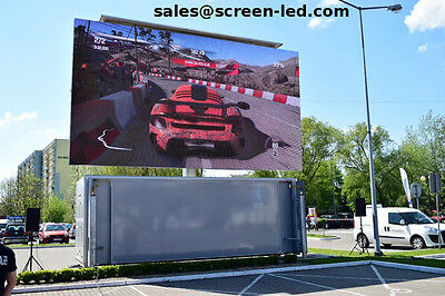 Container LED Screen   Mobile screen on semi-loaded container   outdoor LED wall