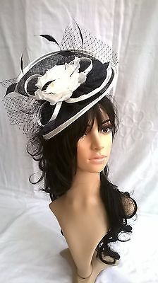 Navy & Ivory Sinamay & Flower saucer disc style fascinator,.Wedding.races..