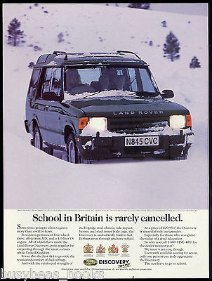 1996 LAND ROVER DISCOVERY advertisement, axle-deep in snow