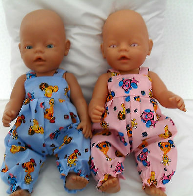 "17"" Dungarees  Dolls Clothes Handmade Fit Baby Born 43Cm Or Similar"