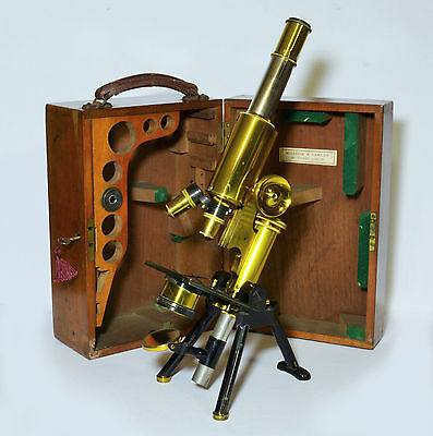 Victorian lacquered brass microscope by James Swift of London