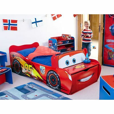 Disney Cars Lightning Mcqueen Red Toddler Storage Bed Kids Bedroom Free P+P
