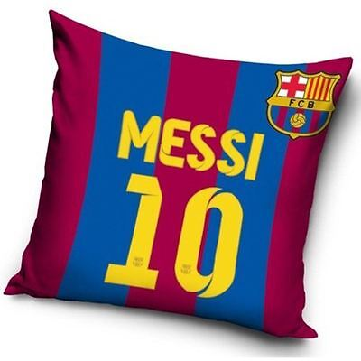 FC BARCELONA 'LIONEL MESSI' FILLED CUSHION 40cm x 40cm NEW FOOTBALL OFFICIAL
