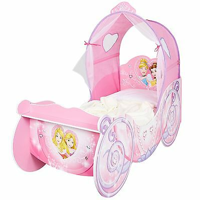 Disney Princess Carriage Toddler Bed With Canopy & Storage Shelf New Free P+P