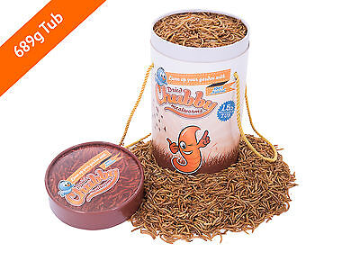 689g Tub Chubby Dried Mealworms for Birds Reptiles Poultry Fish 1.5lbs