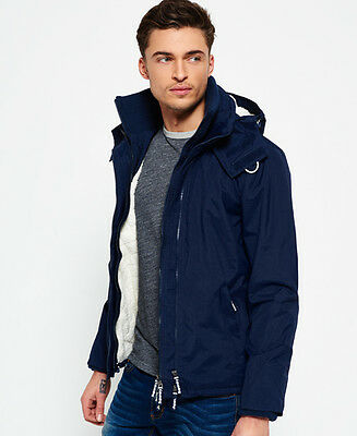 New Mens Superdry Hooded Sherpa Windcheater Nautical Navy