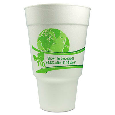 Vio Biodegradable Cups, Foam, 32 oz, White/Green 32CC32VIO