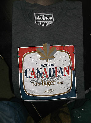 Molson Canadian Special Edition Retro T-Shirt Grey-Size Large