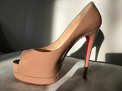 CHRISTIAN  LOUBOUTIN Nude Patent Leather Peep Toe Shoes High Heels Size 38 Uk 5
