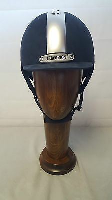 Champion Ventair Fixed Peak Riding hat Navy/Silver + Black/Silver Pas015
