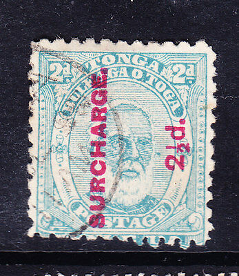 TONGA 1895 SG27 surcharge 21/2d on 2d pale blue - perf 12 - fine used. Cat £50
