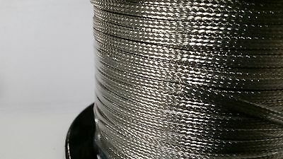 """ON REEL 50 FEET' OF Flat Braided Tinned Copper Wire 3/16"""" Wide Ground Strap USA"""