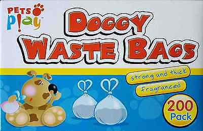 200 DOGGY BAGS Scented Pet Pooper Scooper Dog Cat Poo Waste Toilet Poop