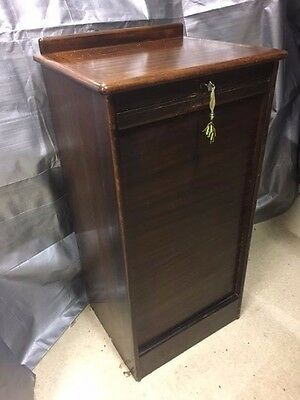 Wooden Tambour Style Antique Filing Cabinet