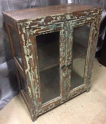 Wooden Display Cabinet with Glass Doors and Sides