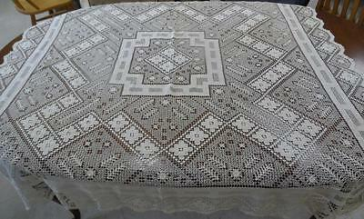 Antique FrenchHandmade  Lace Tablecloth, 56 inch square 1933 wedding gift