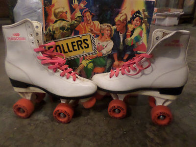 Vintage Roller Derby Skates Womens Size 8 White with Pink Wheels