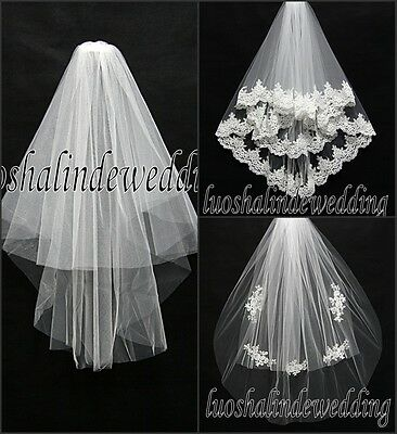 Short Wedding Bridal Lace Veil Blush Length and Elbow length 2 Tiers Metal comb