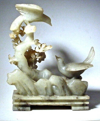 Vintage Chinese Stone Carving: Birds & Flowers