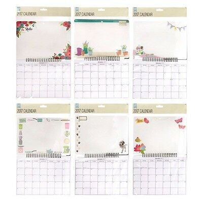 2017 Wall Calendar Home Organiser With Dry Wipe Board & Memo Pen Office Hanging