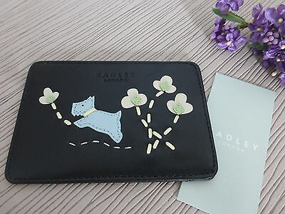 BNWT Radley 'Leaps & Bounds' Black Leather ID Wallet Travel Card Holder