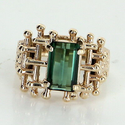 Green Tourmaline Vintage Cocktail Ring 9k Yellow Gold Estate Pre Owned Jewelry