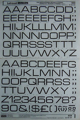 LETRASET Rub On Transfers MICROGAMMA MEDIUM EXTENDED 60pt (#659) NEW