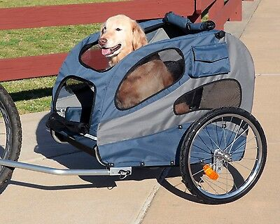 HoundAbout Classic Steel Pet Dog Bicycle Bike Trailer Carrier Blue Large
