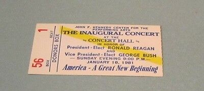 1981 President Ronald Reagan Inaugural Concert Donors Box Ticket Kennedy Center